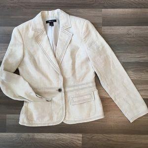 Style Co Women Blazer Jacket 100% Linen Pocket